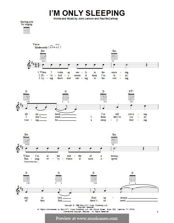 I'm Only Sleeping (The Beatles): Para guitarra com guia by John Lennon, Paul McCartney