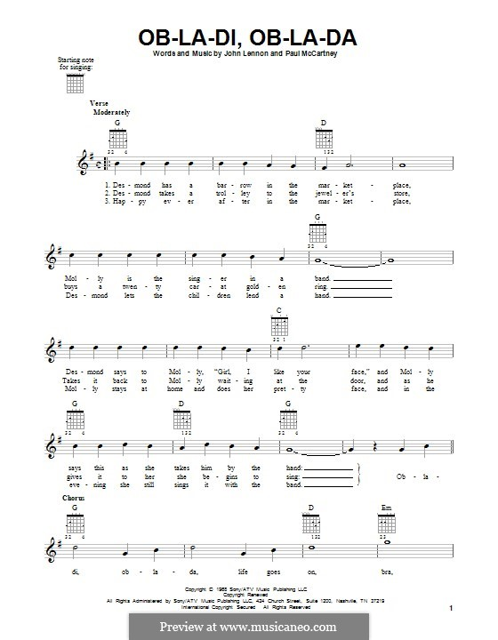 Ob-La-Di, Ob-La-Da (The Beatles): Para guitarra com guia by John Lennon, Paul McCartney