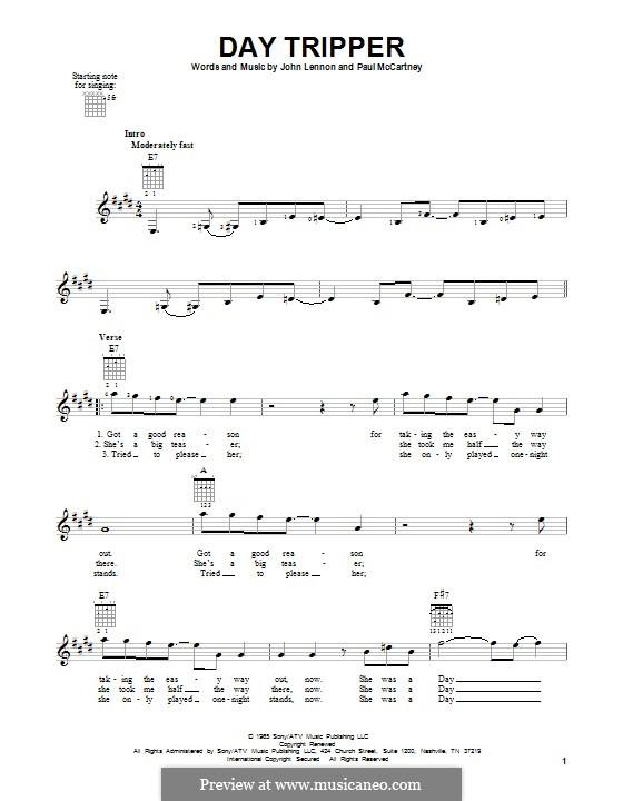 Day Tripper (The Beatles): Para guitarra com guia by John Lennon, Paul McCartney