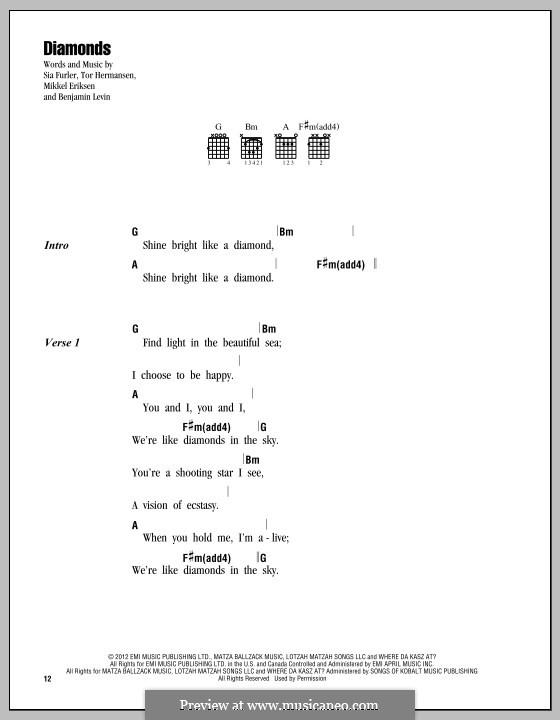 Diamonds (Rihanna): Letras e Acordes by Benjamin Levin, Mikkel Storleer Eriksen, Sia Furler