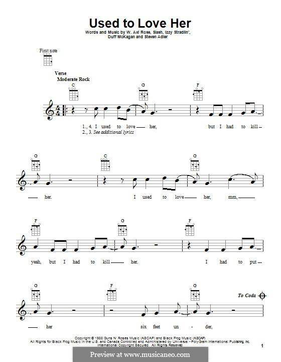 Used to Love Her (Guns N' Roses): para ukulele by Slash, W. Axl Rose, Duff McKagan, Izzy Stradlin, Steven Adler