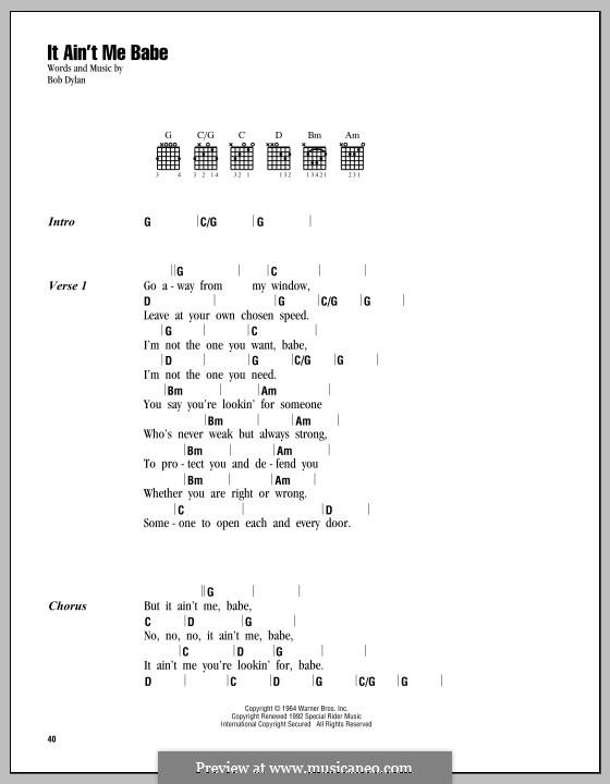 It Ain't Me Babe: Letras e Acordes by Bob Dylan