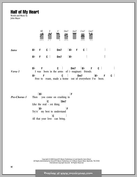 Half of My Heart (John Mayer featuring Taylor Swift): para ukulele by John Mayer