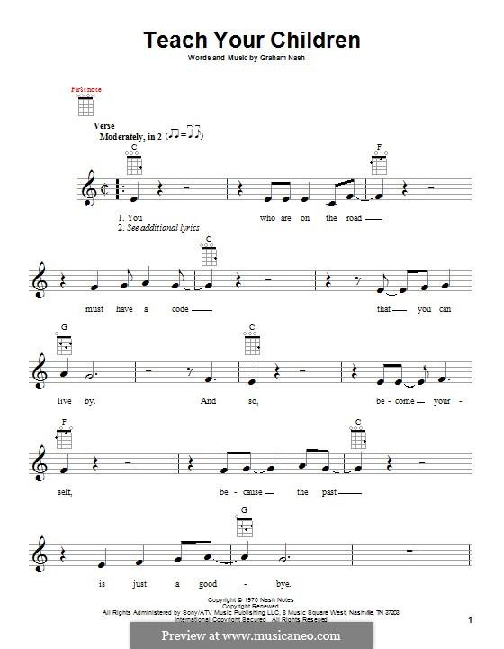 Teach Your Children (Crosby, Stills & Nash): para ukulele by Graham Nash