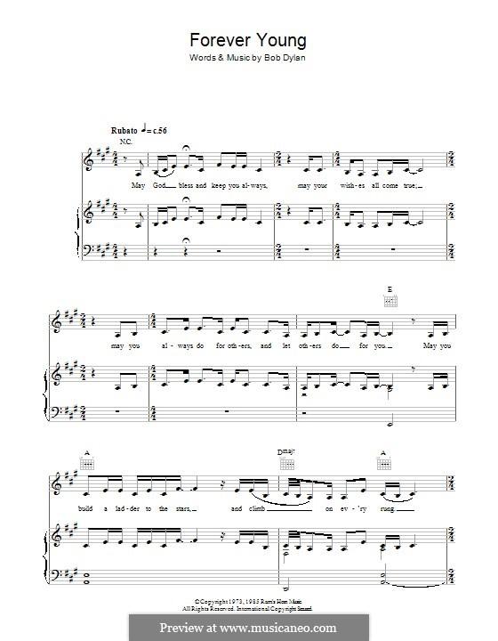 Forever Young I: Para vocais e piano (ou Guitarra) by Bob Dylan