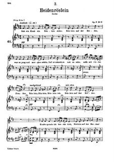 Heidenröslein (Little Hedge Rose), D.257 Op.3 No.3: For deep voice and piano by Franz Schubert