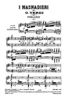 I Masnadieri (The Bandits): arranjos para solistas, coral e piano by Giuseppe Verdi