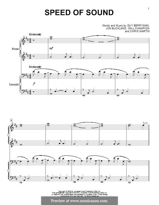 Speed of Sound (Coldplay): para piano de quadro mãos by Chris Martin, Guy Berryman, Jonny Buckland, Will Champion