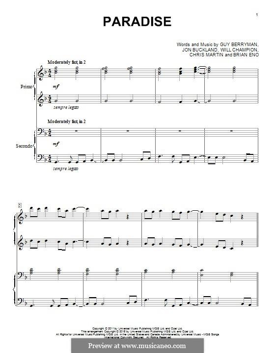 Paradise (Coldplay): para piano de quadro mãos by Brian Eno, Chris Martin, Guy Berryman, Jonny Buckland, Will Champion