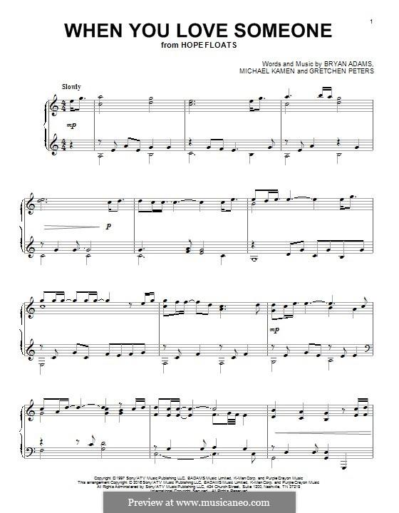 When You Love Someone: Para Piano by Bryan Adams, Gretchen Peters, Michael Kamen