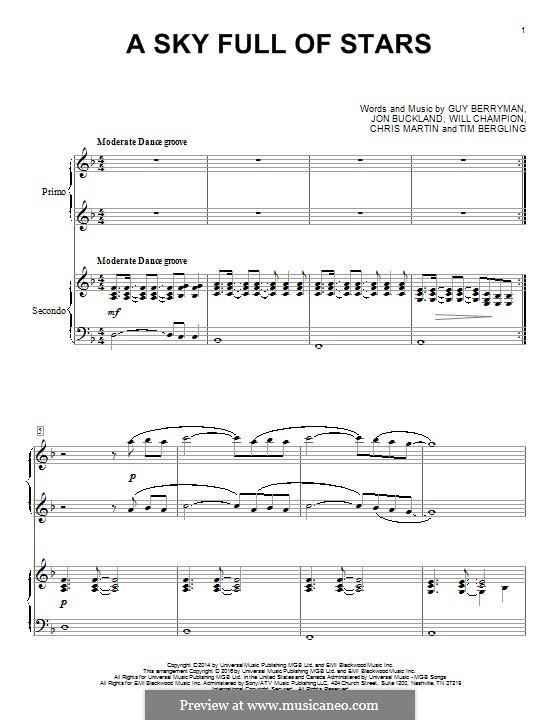 A Sky Full of Stars (Coldplay): para piano de quadro mãos by Chris Martin, Guy Berryman, Jonny Buckland, Avicii, Will Champion