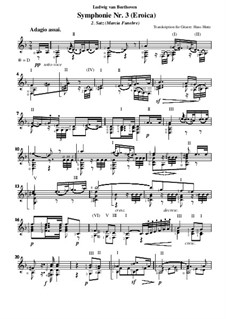 Symphony No.3 'Eroica', Op.55: Movement II, for guitar by Ludwig van Beethoven