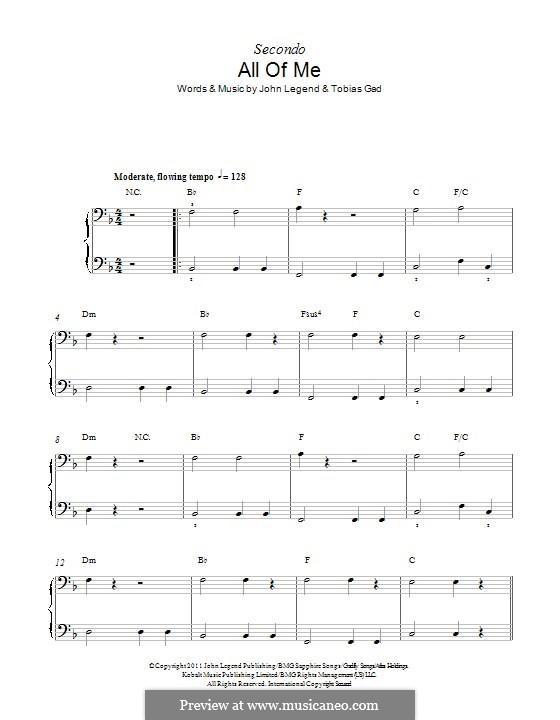 All of Me: para piano de quadro mãos by John Stephens, Tobias Gad