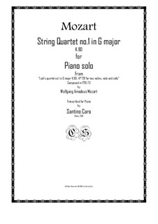 String Quartet No.1 in G Major, K.80/73f: Version for piano solo by Wolfgang Amadeus Mozart