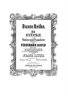 Bunte Reihe, Op.30: No.1-6 for piano by Ferdinand David