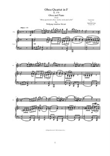Quartet for Oboe and Strings in F Major, K.370: Movement I Allegro. Version for oboe and piano by Wolfgang Amadeus Mozart