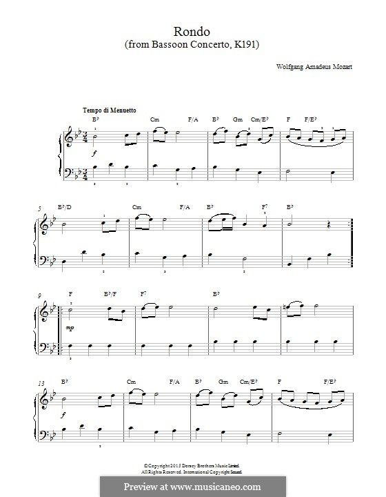 Concerto for Bassoon and Orchestra in B Flat Major, K.191: Rondo. Version for piano by Wolfgang Amadeus Mozart