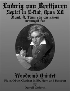 Septet for Winds and Strings, Op.20: Movement IV. Arranged for woodwind quintet by Ludwig van Beethoven