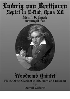 Septet for Winds and Strings, Op.20: Movement VI. Arranged for woodwind quintet by Ludwig van Beethoven