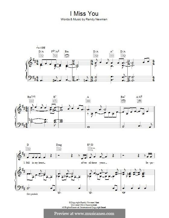 I Miss You: Para vocais e piano (ou Guitarra) by Randy Newman