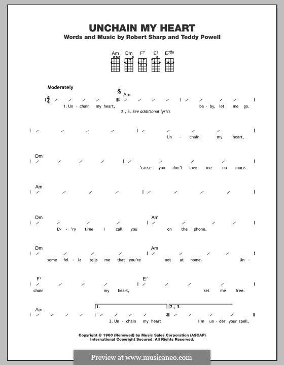 Unchain My Heart (Ray Charles): para ukulele by Bobby Sharp, Teddy Powell