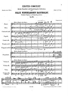 Concerto for Piano and Orchestra No.1 in G Minor, Op.25: Partitura completa by Felix Mendelssohn-Bartholdy