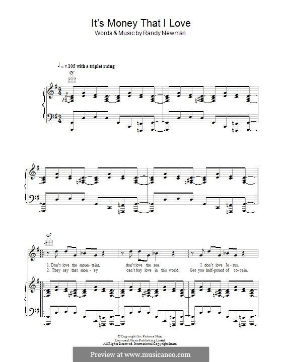It's Money That I Love: Para vocais e piano (ou Guitarra) by Randy Newman