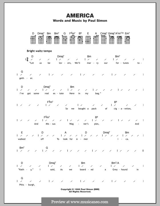 America (Simon & Garfunkel): para ukulele by Paul Simon