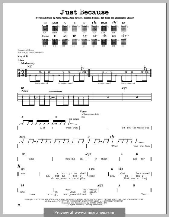 Just Because (Jane's Addiction): Para guitarra com guia by Bob Ezrin, Chris Chaney, Dave Navarro, Perry Farrell, Stephen Perkins