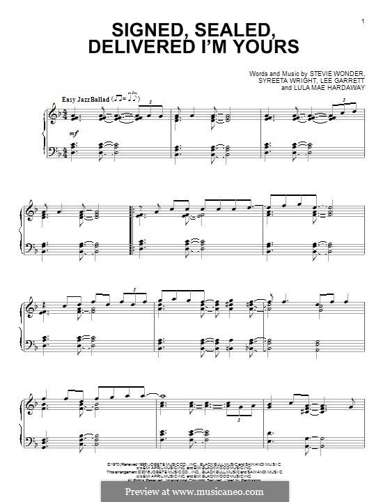 Signed, Sealed, Delivered (Blue feat. Stevie Wonder): Para Piano by Lee Garrett, Lula Mae Hardaway, Stevie Wonder, Syreeta Wright