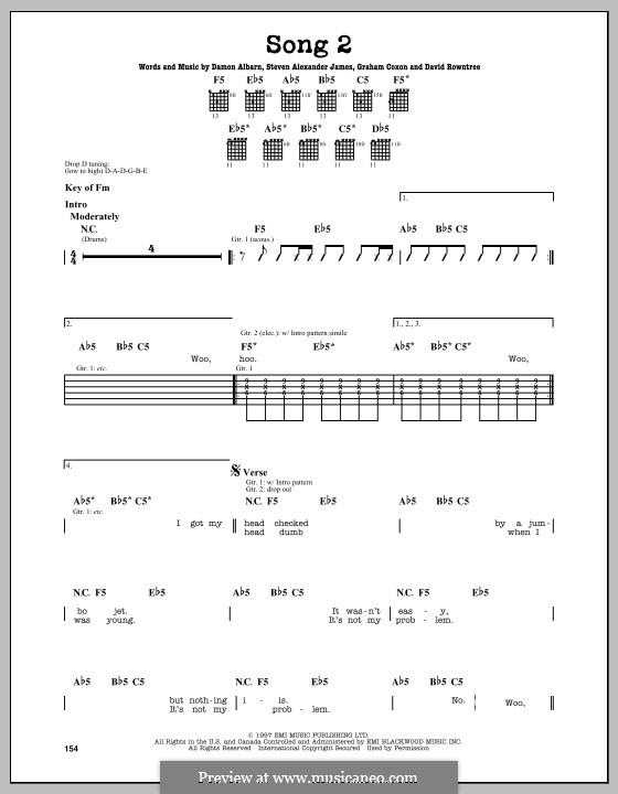 Song 2 (Blur): Para guitarra com guia by Alex James, Damon Albarn, David Rowntree, Graham Coxon