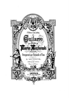 Two Pieces for Piano , Op.45: No.2 Guitarre (On the Guitar), for cello and piano by Moritz Moszkowski