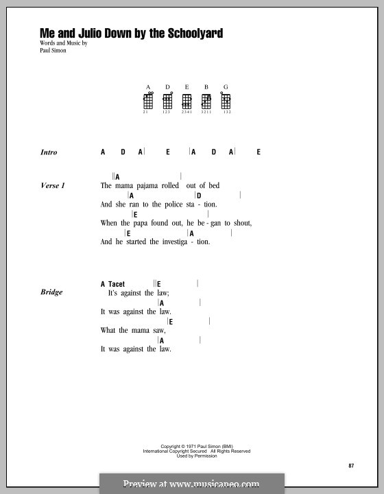 Me and Julio Down By the Schoolyard (Simon & Garfunkel): para ukulele by Paul Simon