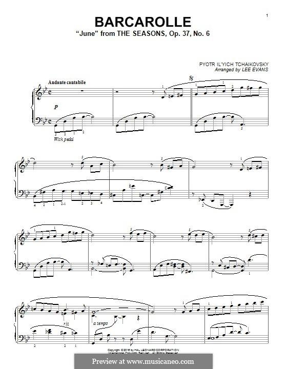 No.6 June (Barcarole): Para Piano by Pyotr Tchaikovsky