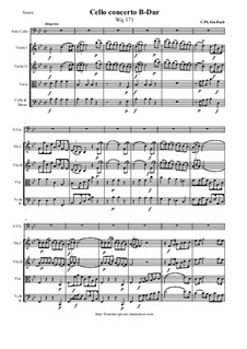 Concerto for Cello and Strings in B Flat Major, Wq 171 H 436: Score and all parts by Carl Philipp Emanuel Bach
