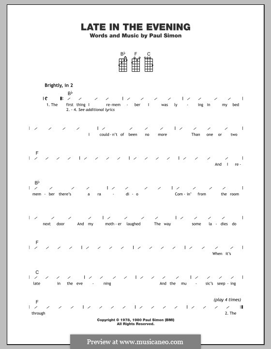 Late in the Evening: para ukulele by Paul Simon