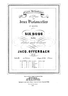 Six Duos for Two Cellos, Op.50: Duos No.4-6 – parts by Jacques Offenbach