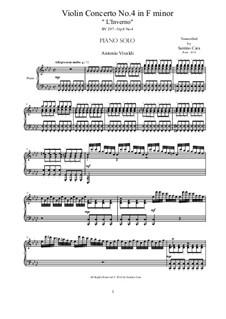 Violin Concerto No.4 in F Minor 'L'inverno', RV 297: Arrangement for piano solo by Antonio Vivaldi