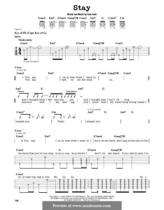 Stay: Para Guitarra by Lisa Loeb