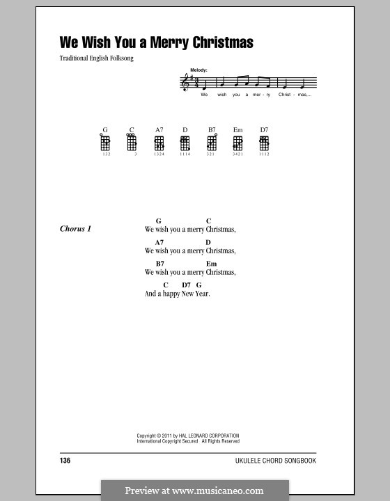 We Wish You a Merry Christmas (Printable Scores): para ukulele by folklore