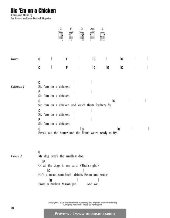 Sic 'Em on a Chicken (Zac Brown Band): para ukulele by John Driskell Hopkins, Zac Brown