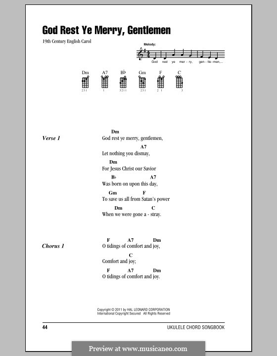 God Rest You Merry, Gentlemen (Printable Scores): para ukulele by folklore