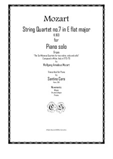 String Quartet No.7 in E Flat Major, K.160: Arrangement for piano solo by Wolfgang Amadeus Mozart