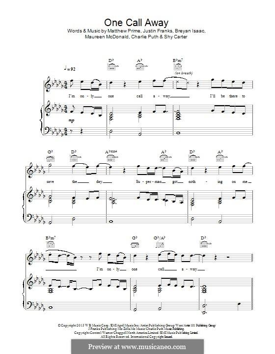 One Call Away: Para vocais e piano (ou Guitarra) by Justin Franks, Matthew Prime, Shy Carter, Breyan Isaac, Maureen McDonald, Charlie Puth