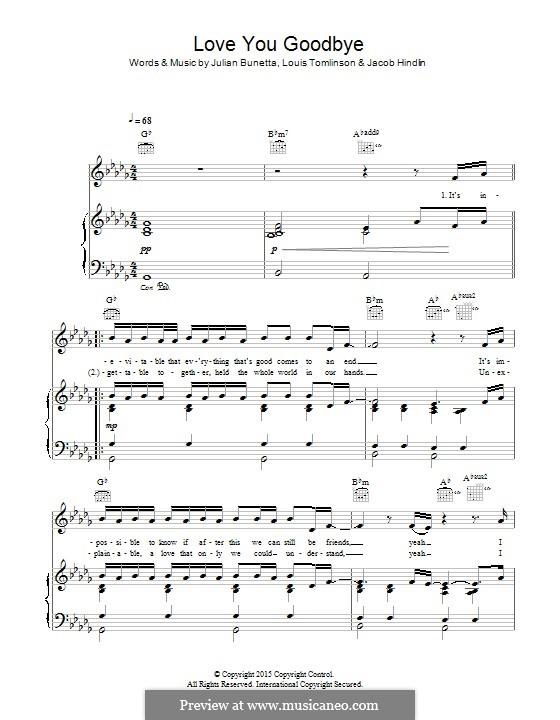 Love You Goodbye (One Direction): Para vocais e piano (ou Guitarra) by Jacob Kasher Hindlin, Julian Bunetta, Louis Tomlinson
