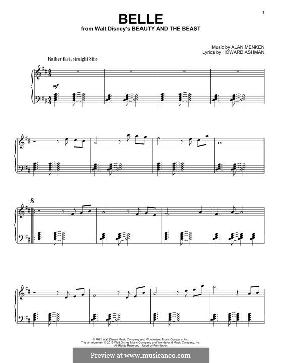 Belle (from Beauty and the Beast): Para Piano by Alan Menken
