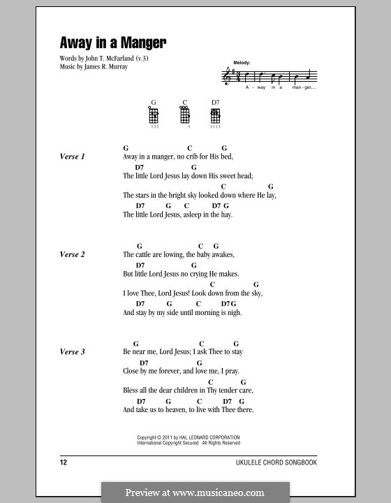 Away in a Manger (Printable Scores): para ukulele by James R. Murray