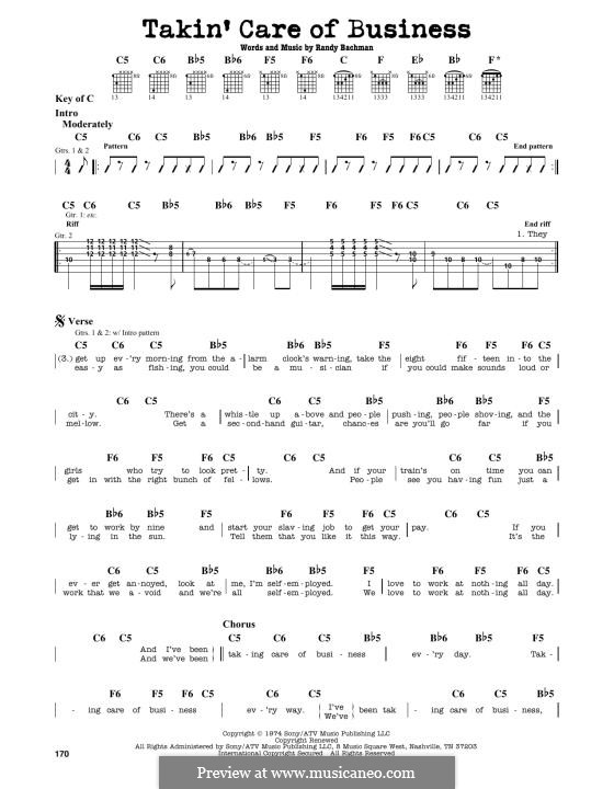 Takin' Care of Business (Bachman-Turner Overdrive): Para Guitarra by Randy Bachman