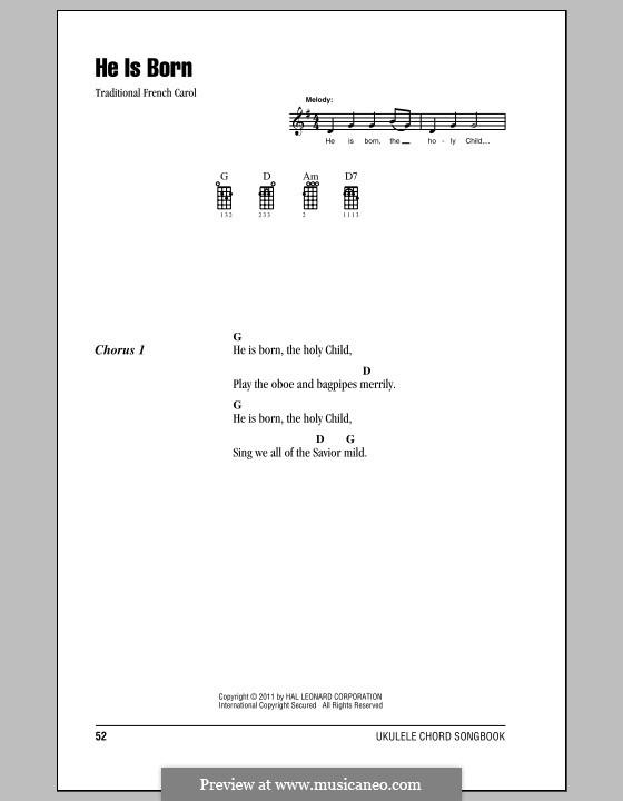 He is Born, the Holy Child (Il est ne, le divin enfant): para ukulele by folklore