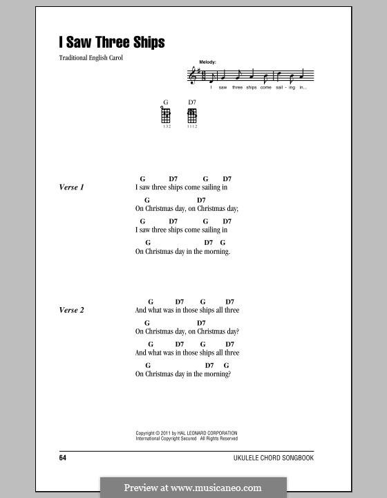 I Saw Three Ships: para ukulele by folklore
